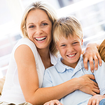 woman and son smiling